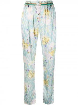 Зауженные брюки с принтом Forte. Цвет: синий