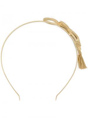 Ободок с цепочной деталью в форме змеи Prada. Цвет: металлик