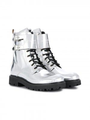 Ботинки на шнуровке Balmain Kids. Цвет: серебристый