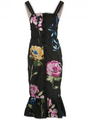 Платье с цветочным принтом и оборками Marchesa. Цвет: черный
