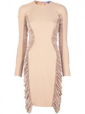 Платье миди со сборками Mugler. Цвет: нейтральные цвета