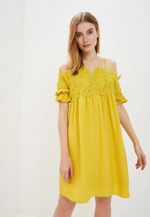 Платье Silvian Heach. Цвет: желтый