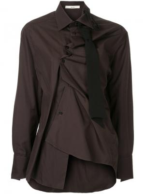 Асимметричная рубашка Aganovich. Цвет: коричневый