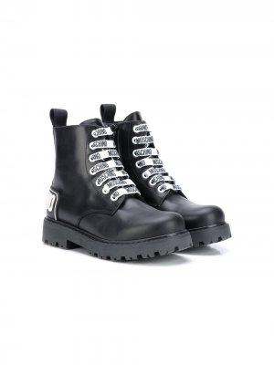 Ботинки с логотипом Moschino Kids. Цвет: черный