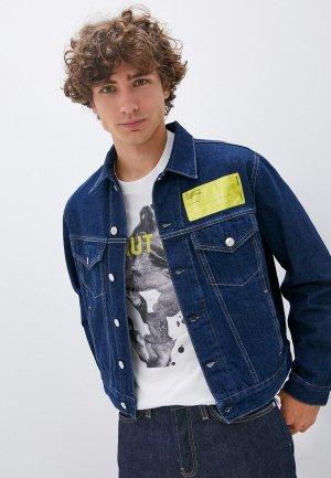 Куртка джинсовая Helmut Lang. Цвет: синий