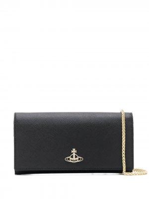 Кошелек на цепочке с логотипом Vivienne Westwood. Цвет: черный