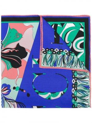 Шейный платок с принтом логотипа Emilio Pucci. Цвет: синий