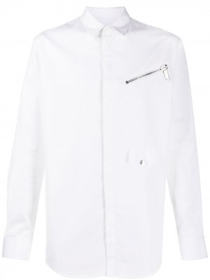 Рубашка узкого кроя с декоративной молнией Dsquared2. Цвет: белый