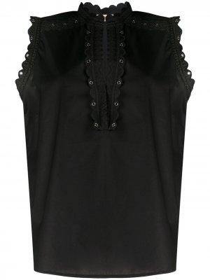 Блузка с вышивкой TWINSET. Цвет: черный