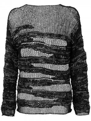 Джемпер рыхлой вязки с прорезями Isabel Benenato. Цвет: черный