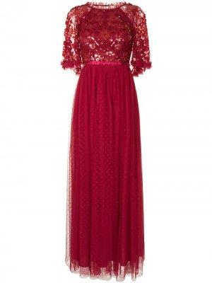 Платье макси с пайетками Needle & Thread. Цвет: красный