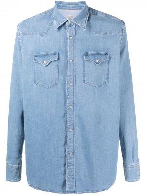 Джинсовая рубашка с длинными рукавами Eleventy. Цвет: синий