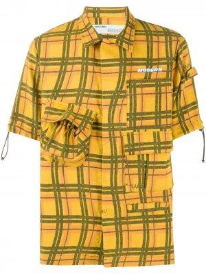 Клетчатая рубашка Voyager с короткими рукавами Off-White. Цвет: желтый