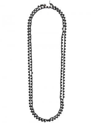 Длинное цепочное колье с кристаллами Ann Demeulemeester. Цвет: черный