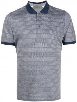 Полосатая рубашка поло с короткими рукавами Corneliani. Цвет: синий