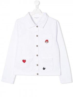 Джинсовая куртка с нашивками Sonia Rykiel. Цвет: белый