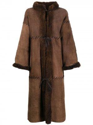 Дубленка миди 1980-х годов из овчины Christian Dior. Цвет: коричневый
