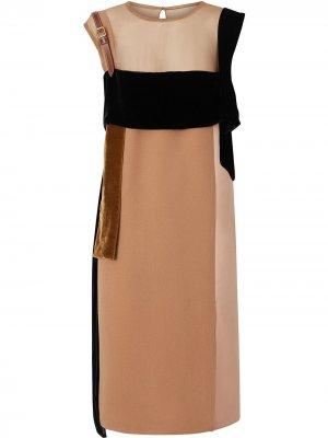 Strap Detail Panelled Silk and Velvet Dress Burberry. Цвет: нейтральные цвета