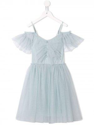Платье с открытыми плечами Tutu Du Monde. Цвет: синий