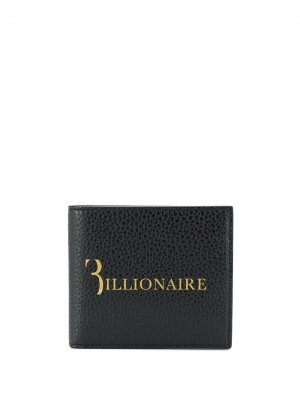 Кошелек из зернистой кожи с тисненым логотипом Billionaire. Цвет: черный