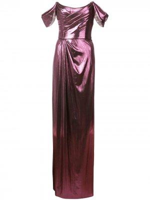 Вечернее платье со сборками Marchesa Notte. Цвет: фиолетовый