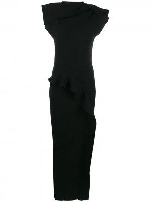 Приталенное платье с оборками Rick Owens. Цвет: черный
