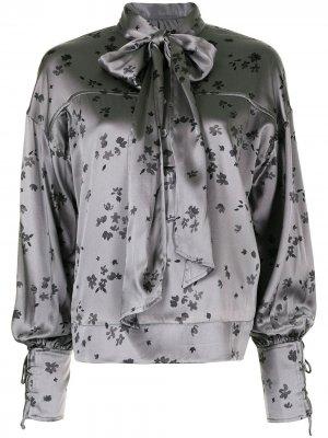 Блузка с цветочным принтом GANNI. Цвет: серый