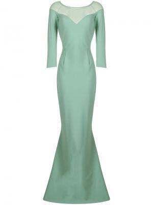 Вечернее платье с сетчатой вставкой наверху Le Petite Robe Di Chiara Boni. Цвет: зеленый