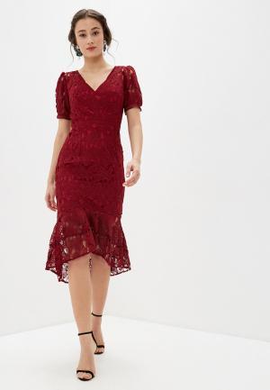 Платье Chi London. Цвет: бордовый