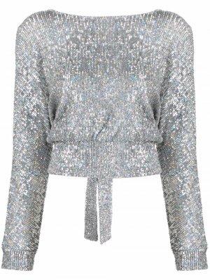 Блузка с пайетками Antonella Rizza. Цвет: серебристый