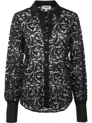 Полупрозрачная рубашка из цветочного кружева L'agence. Цвет: черный