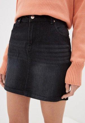 Юбка джинсовая Code. Цвет: черный