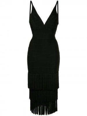 Платье с трехъярусной бахромой Hervé Léger. Цвет: черный