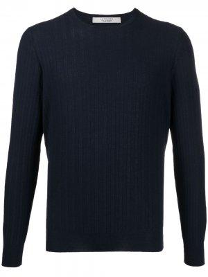 La Fileria For Daniello пуловер с узором шеврон D'aniello. Цвет: синий