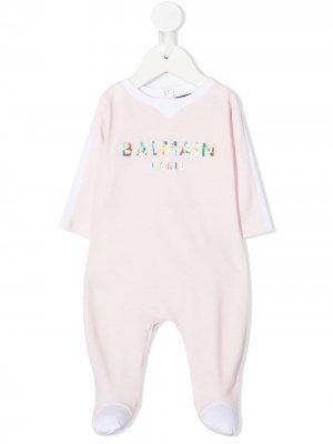 Комбинезон для новорожденного с логотипом Balmain Kids. Цвет: розовый