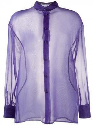 Прозрачная блузка с длинными рукавами AMI Paris. Цвет: фиолетовый
