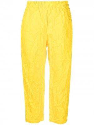 Укороченные брюки с жатым эффектом Daniela Gregis. Цвет: желтый