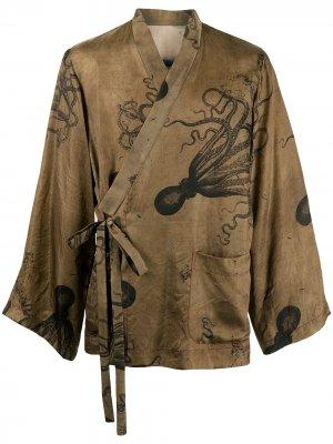 Жакет с графичным принтом и завязками Uma Wang. Цвет: коричневый