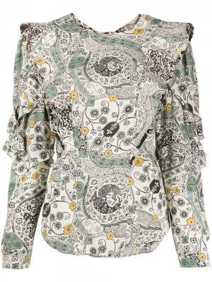 Блузка с цветочным принтом и оборками Isabel Marant Étoile. Цвет: нейтральные цвета