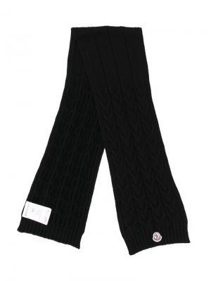 Трикотажный шарф Moncler Enfant. Цвет: черный