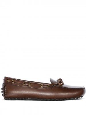 Мокасины с бантом Car Shoe. Цвет: коричневый