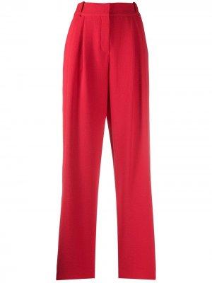 Зауженные брюки со складками Emporio Armani. Цвет: красный