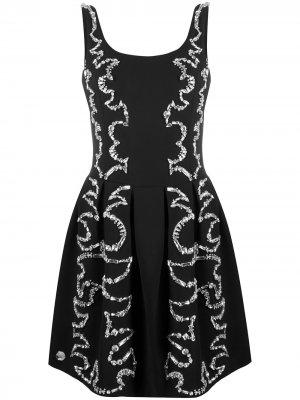 Коктейльное платье со стразами Philipp Plein. Цвет: черный