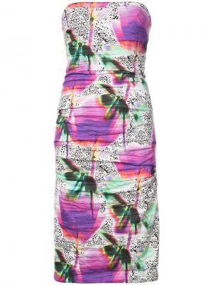 Облегающее платье без бретелек Nicole Miller. Цвет: розовый