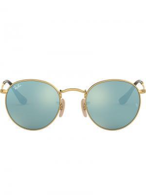 Солнцезащитные очки в круглой металлической оправе Ray-Ban. Цвет: золотистый