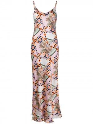 Атласное платье Vivean с геометричным принтом Temperley London. Цвет: розовый