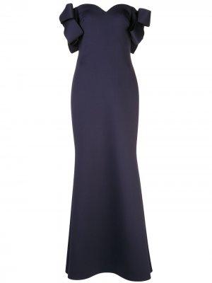 Платье с бантами на рукавах Badgley Mischka. Цвет: синий
