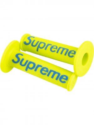 Велосипедные грипсы с логотипом Supreme. Цвет: желтый