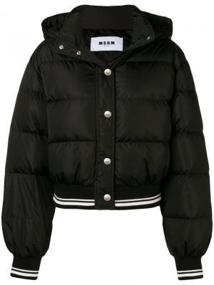 Укороченная утепленная куртка MSGM. Цвет: черный