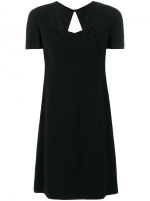 Платье прямого кроя с короткими рукавами Chanel Vintage. Цвет: черный